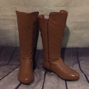Genuine Leather Wide Calf Riding Boots Cognac